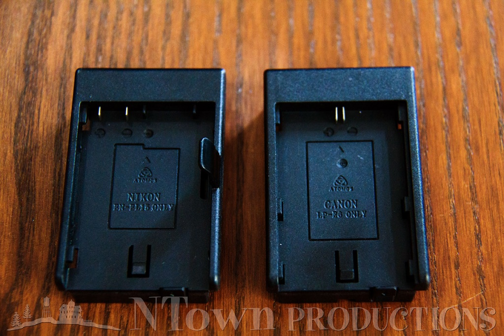 additional Nikon and Canon battery adapters are included