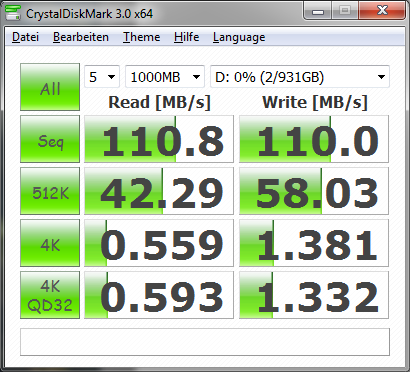 WD My Passport Ultra benchmark in CrystalDiskMark