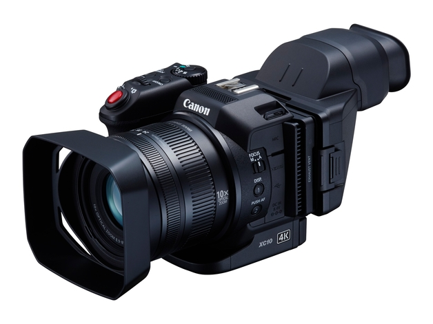 Canon XC10 with attached Display Loupe and Lens Shade