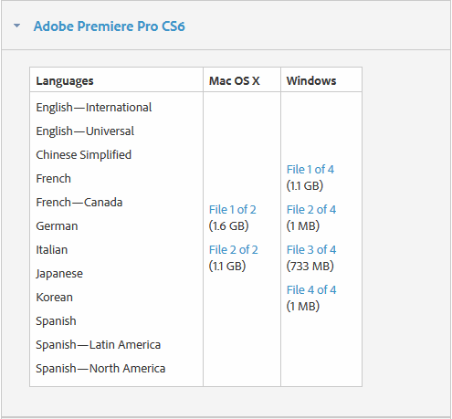 Adobe CS6 Download Page