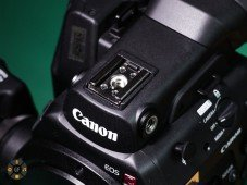 Canon C300MkII Review: Hotshue-mounting point and side screw holes for the cheeseplate.