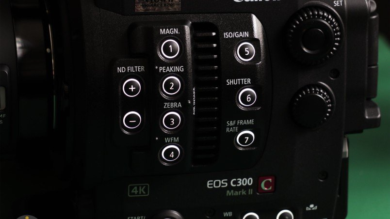 Canon C300MkII Review: Side buttons illumination enabled.