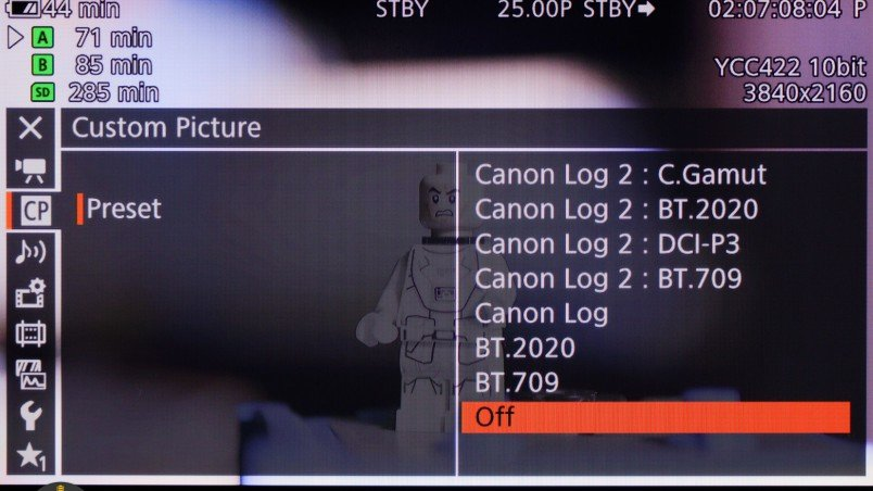 Canon C300MkII Review: Most common picture style combinations available as predefined presets.